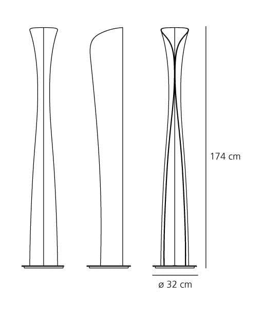 cadmo artemide lampada da terra dimensioni