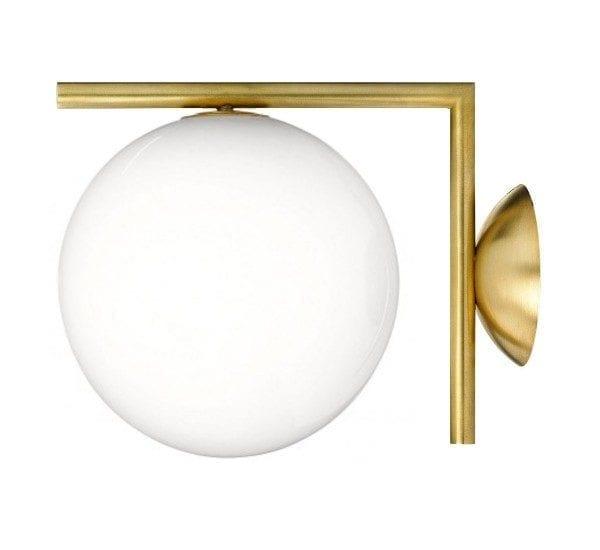 ic c/w1 flos michael anastassiades lampada a parete vetro soffiato bianco ottone cromo