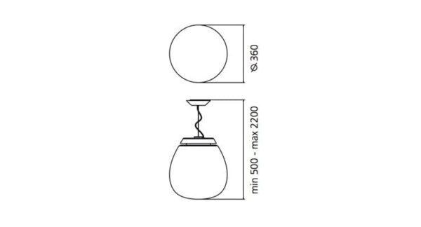 empatia 36 artemide lampada a sospensione vetro soffiato