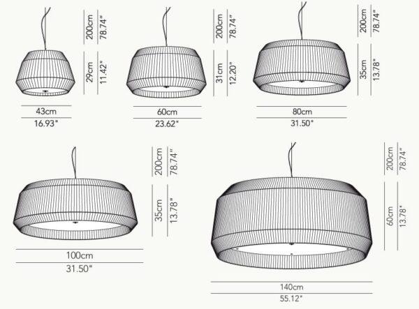 loto modo annarosa romano bruno menegon plissé modoluce lampada a sospensione grande