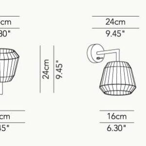 loto modo annarosa romano bruno menegon plissé modoluce applique lampada da parete