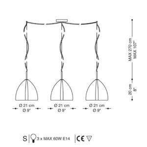 atlas la murrina lampada a 3 sospensione vetro Murano