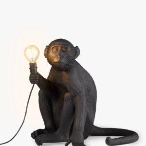 Seletti MONKEY LAMP - sitting outdoor – black